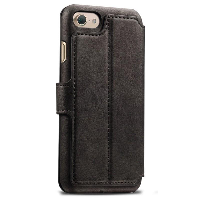Mobiq Premium Lederen iPhone 8 / iPhone 7 Wallet hoes Zwart 02