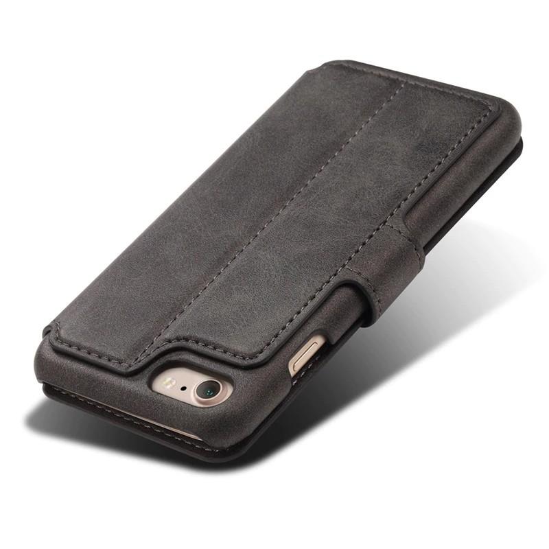 Mobiq Premium Lederen iPhone 8 / iPhone 7 Wallet hoes Zwart 05