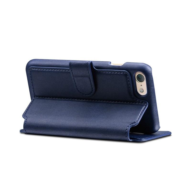 Mobiq Premium Lederen iPhone 8 / iPhone 7 Wallet hoes Blauw 04