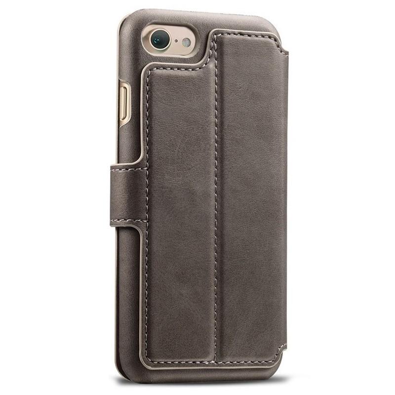 Mobiq Premium Lederen iPhone 8 / iPhone 7 Wallet hoes Grijs 02