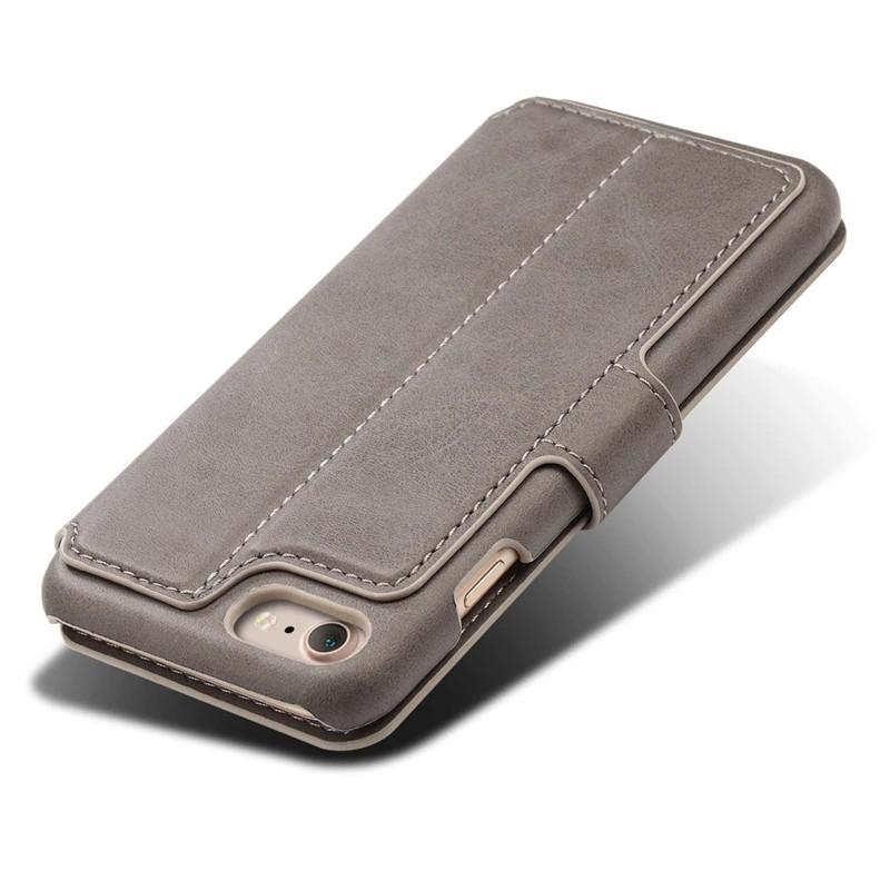 Mobiq Premium Lederen iPhone 8 / iPhone 7 Wallet hoes Grijs 05