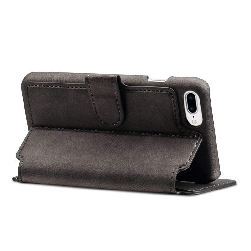 Mobiq Premium Lederen iPhone 8 Plus / 7 Plus hoes Zwart 04