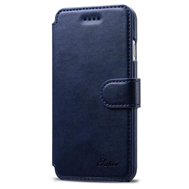 Mobiq Premium Lederen iPhone 8 Plus / 7 Plus hoes Blauw 01