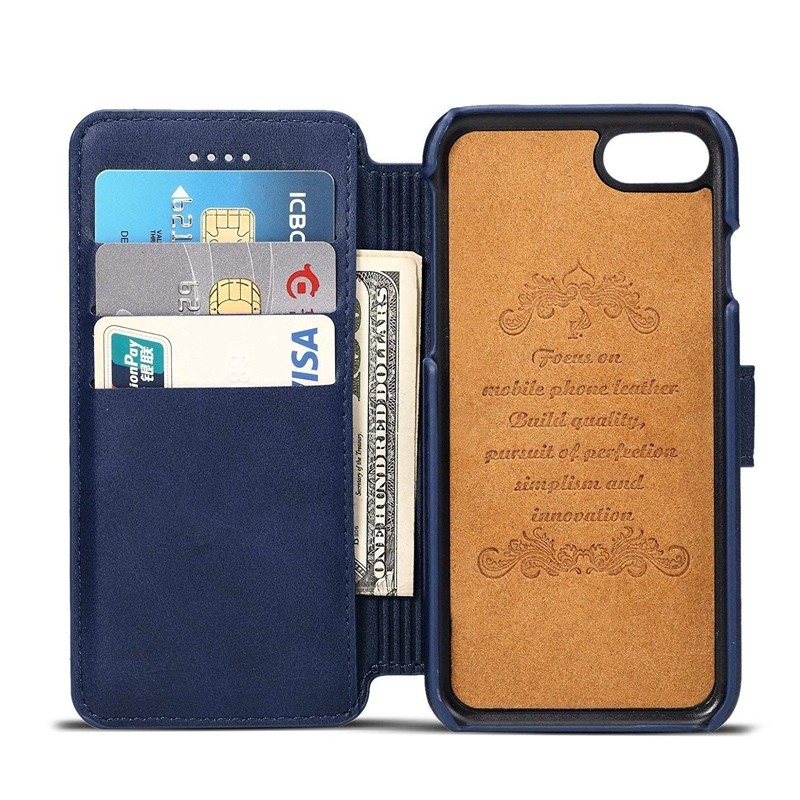 Mobiq Premium Lederen iPhone 8 Plus / 7 Plus hoes Blauw 03