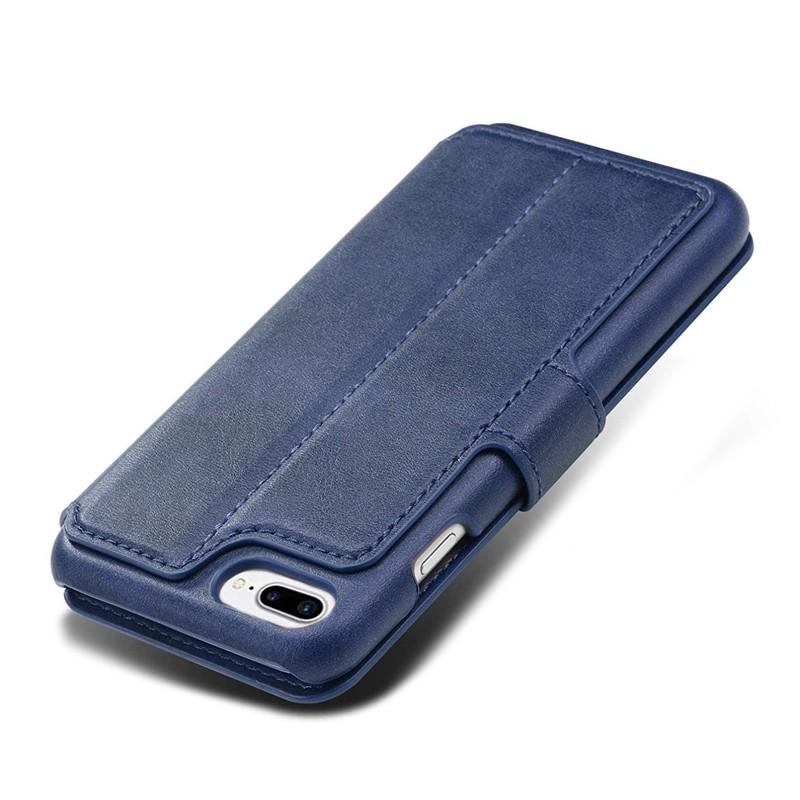 Mobiq Premium Lederen iPhone 8 Plus / 7 Plus hoes Blauw 05