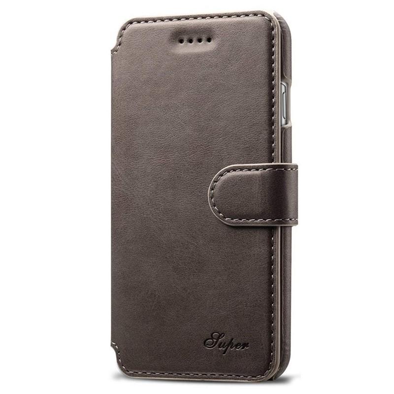 Mobiq Premium Lederen iPhone 8 Plus / 7 Plus hoes Grijs 01