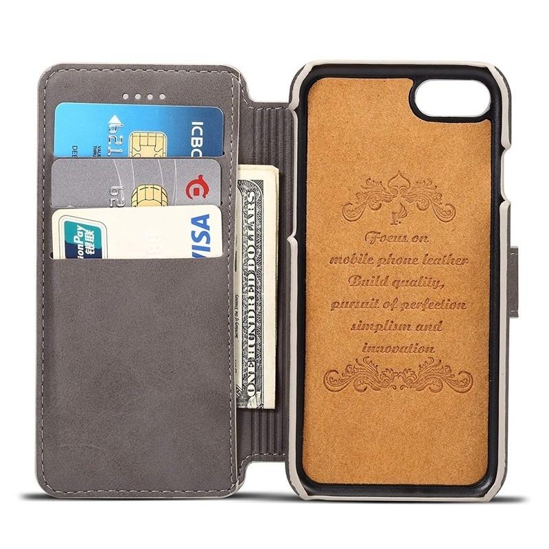 Mobiq Premium Lederen iPhone 8 Plus / 7 Plus hoes Grijs 03