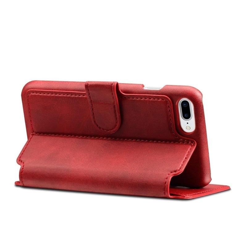Mobiq Premium Lederen iPhone 8 Plus/7 Plus Wallet hoes Rood 04