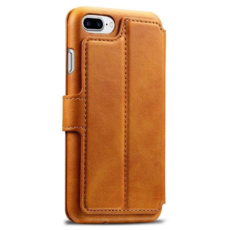 Mobiq Premium Lederen iPhone 8 Plus / 7 Plus hoes Tan 02