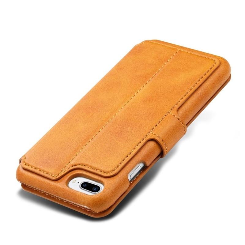 Mobiq Premium Lederen iPhone 8 Plus / 7 Plus hoes Tan 05