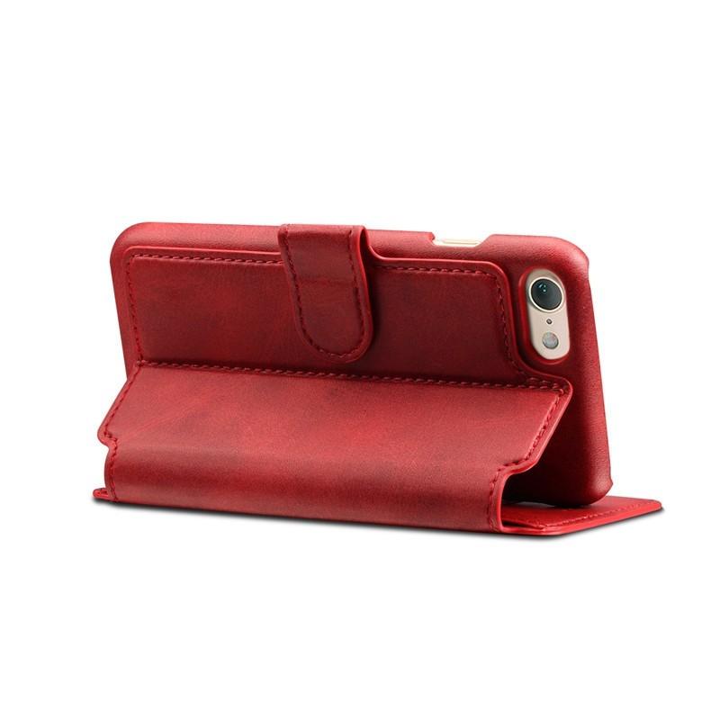 Mobiq Premium Lederen iPhone 8 / iPhone 7 Wallet hoes Rood 04