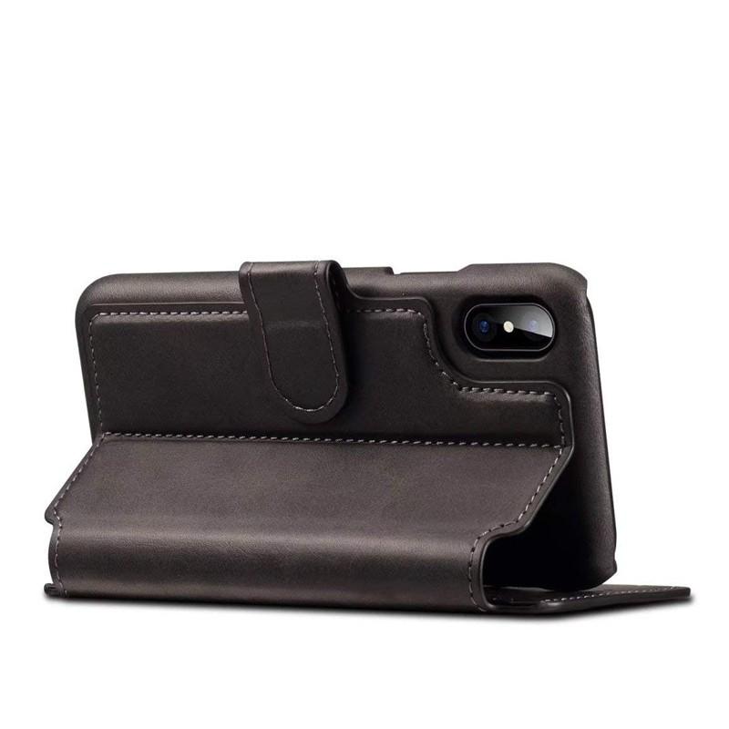 Mobiq Premium Lederen iPhone X/Xs Wallet hoes Zwart 04