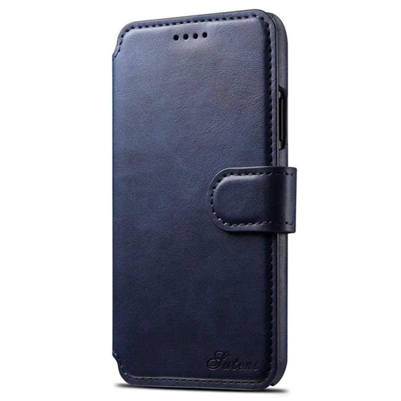 Mobiq Premium Lederen iPhone X/Xs Wallet hoes Blauw 01