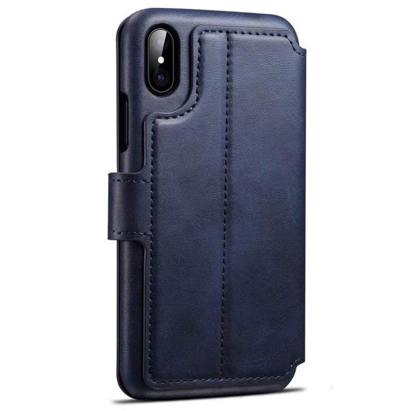 Mobiq Premium Lederen iPhone X/Xs Wallet hoes Blauw 02