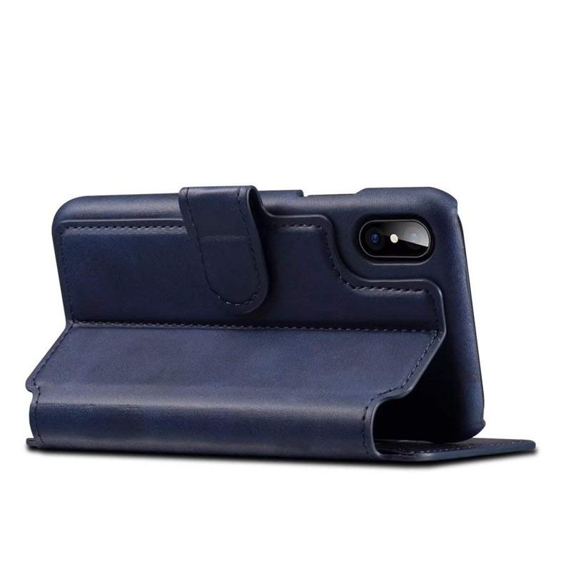 Mobiq Premium Lederen iPhone X/Xs Wallet hoes Blauw 04