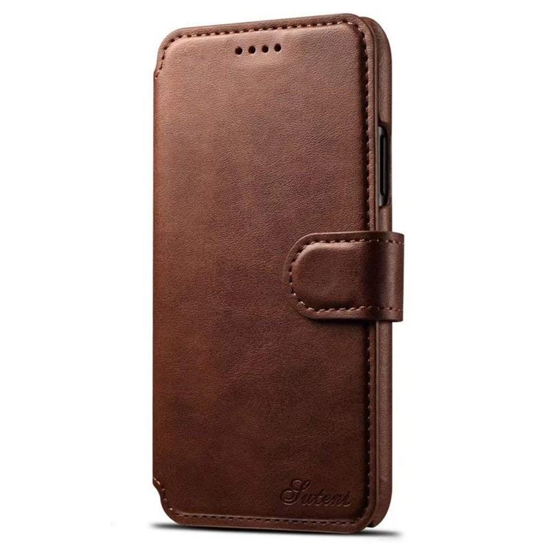 Mobiq Premium Lederen iPhone X/Xs Wallet hoes Bruin 01