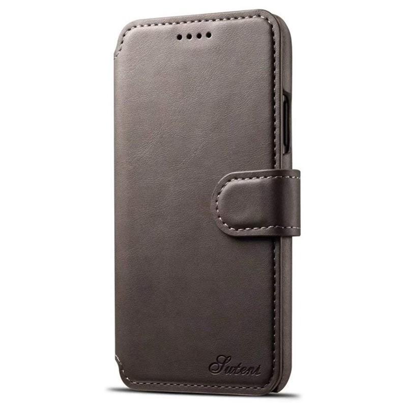 Mobiq Premium Lederen iPhone X/Xs Wallet hoes Grijs 01