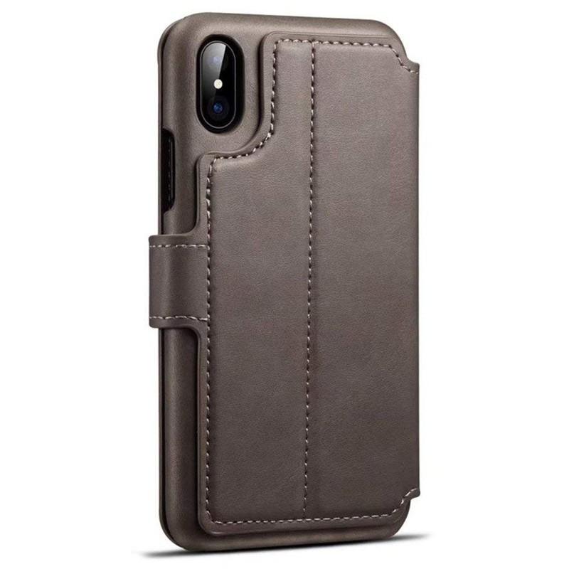 Mobiq Premium Lederen iPhone X/Xs Wallet hoes Grijs 02