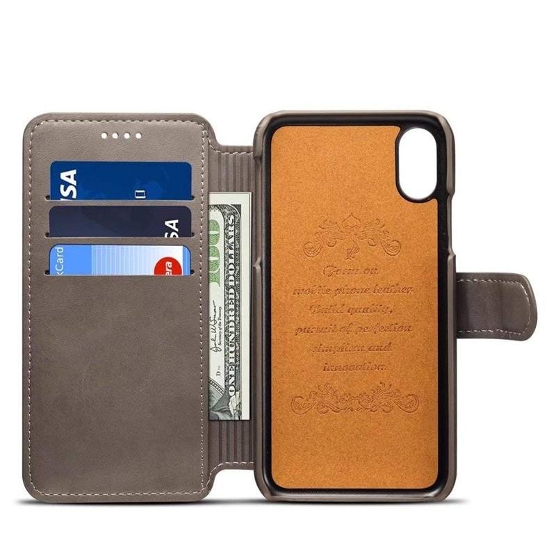 Mobiq Premium Lederen iPhone X/Xs Wallet hoes Grijs 03