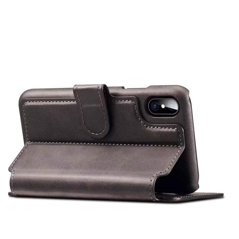Mobiq Premium Lederen iPhone X/Xs Wallet hoes Grijs 04