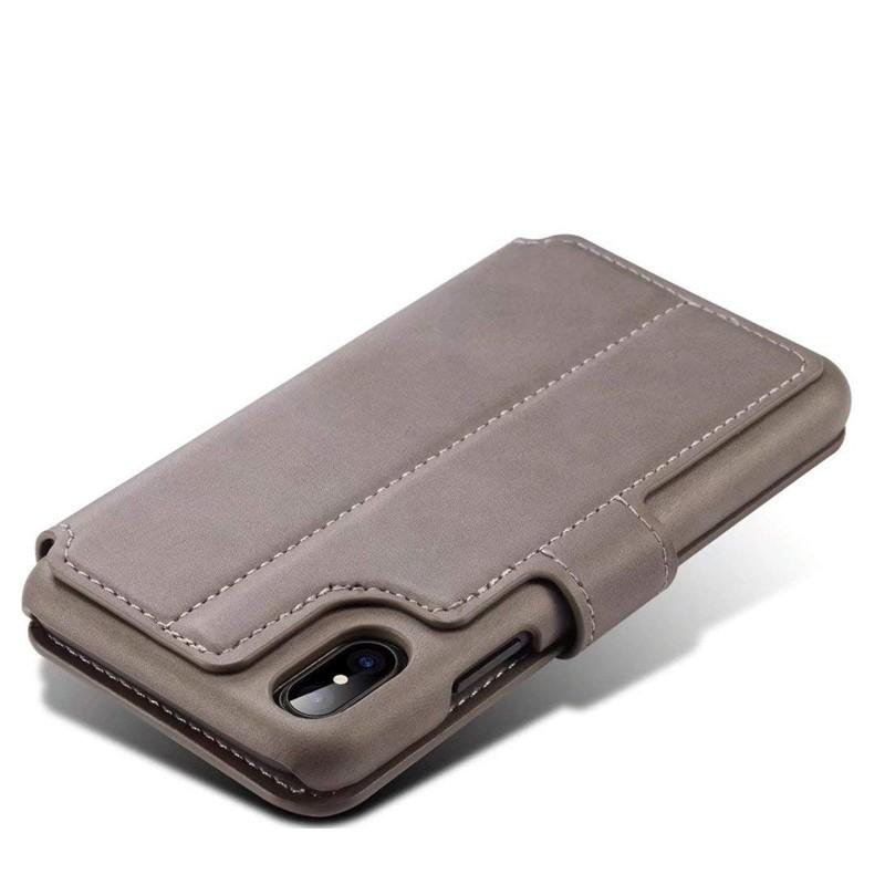 Mobiq Premium Lederen iPhone X/Xs Wallet hoes Grijs 05