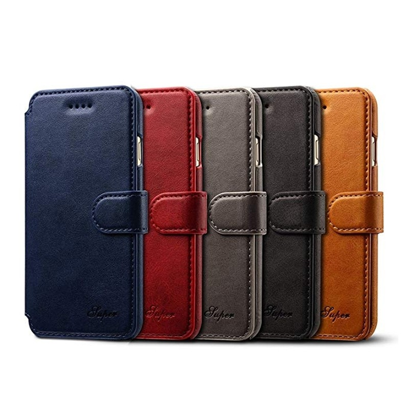 Mobiq Premium Lederen iPhone 8 Plus / 7 Plus hoes Blauw 06