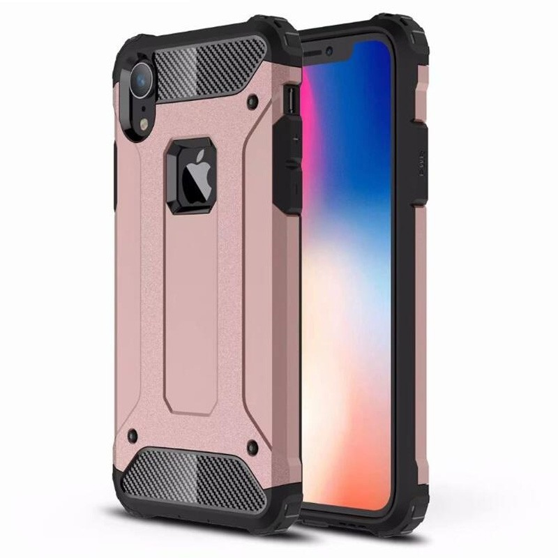 Mobiq Rugged Armor Case iPhone XR Roze 01