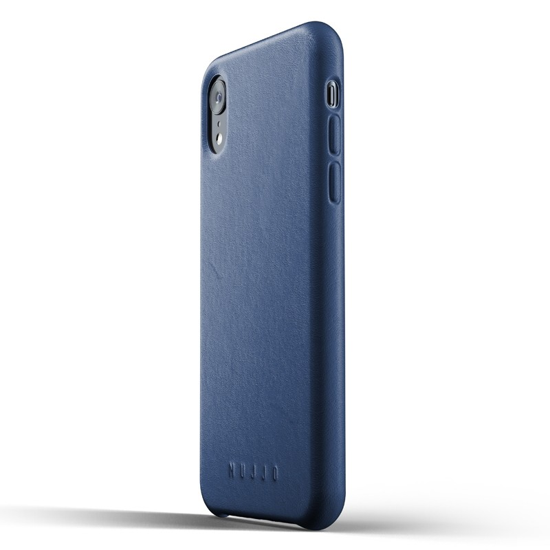 Mujjo Full Leather iPhone XR Case Blauw 04