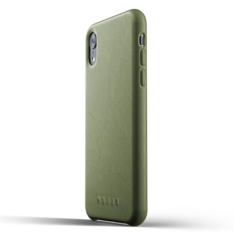 Mujjo Full Leather iPhone XR Case Olive 04