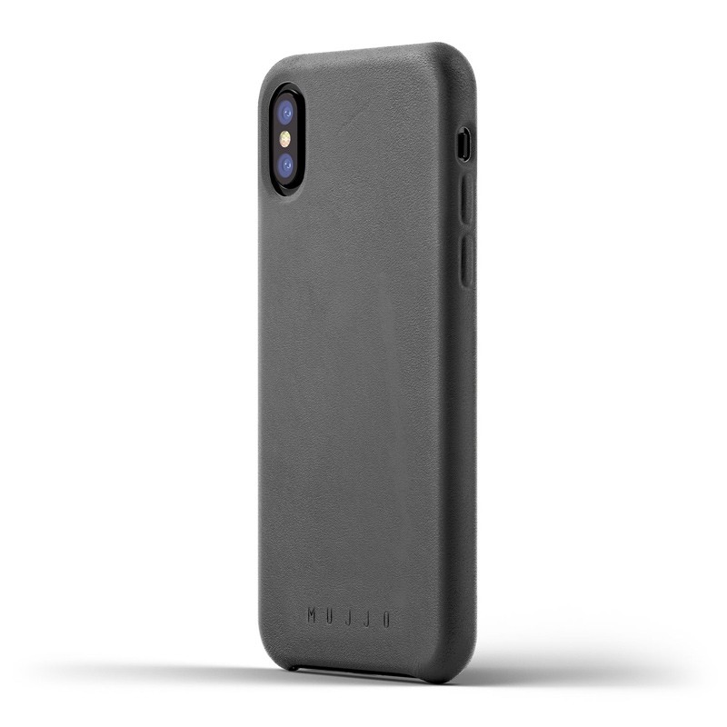 Mujjo - Full Leather Case iPhone X/Xs Gray 01