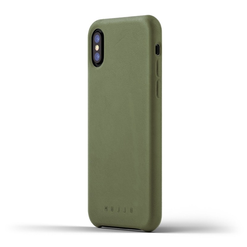 Mujjo - Full Leather Case iPhone X/Xs Green 01