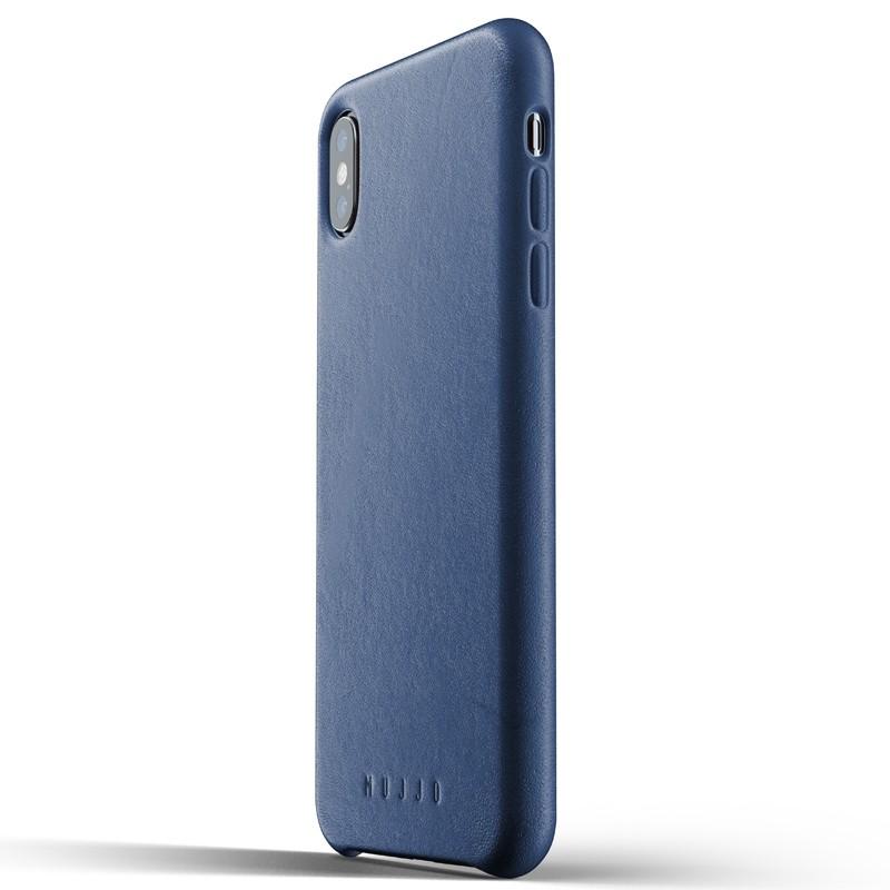 Mujjo Full Leather Case iPhone XS Max blauw 01
