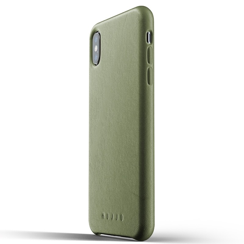 Mujjo Full Leather Case iPhone XS Max olijfgroen 01