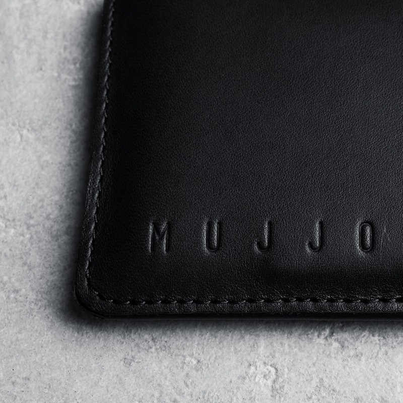 Mujjo - Leather wallet Sleeve iPhone X/Xs Black 05