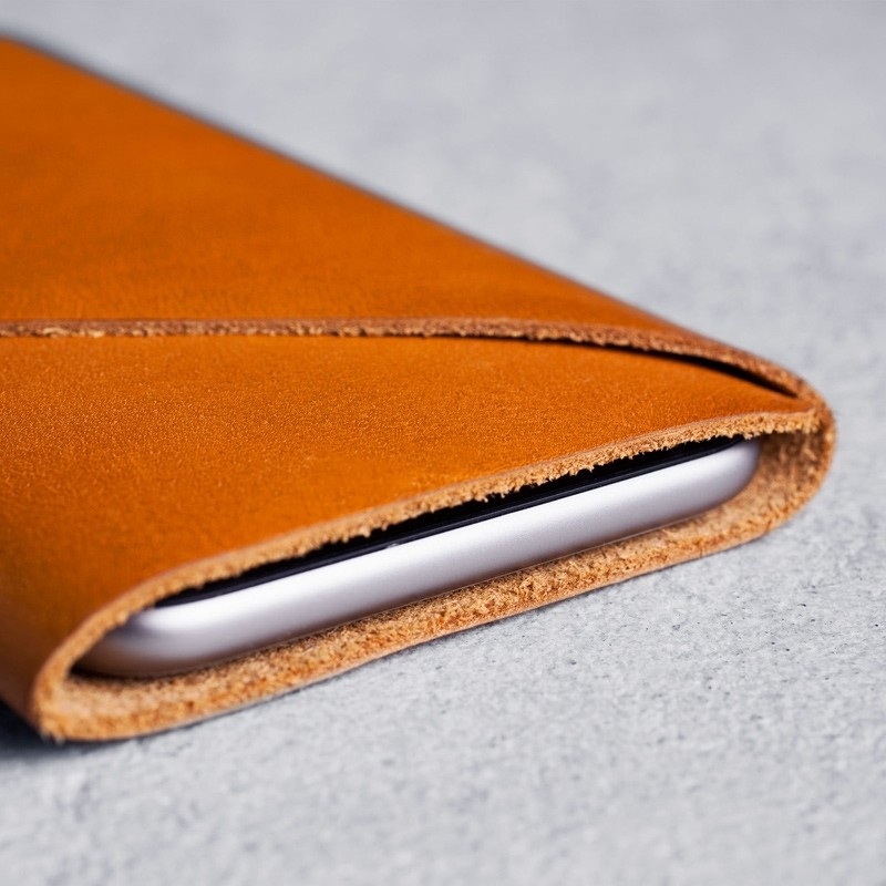 Mujjo - Leather wallet Sleeve iPhone X/Xs Tan 04