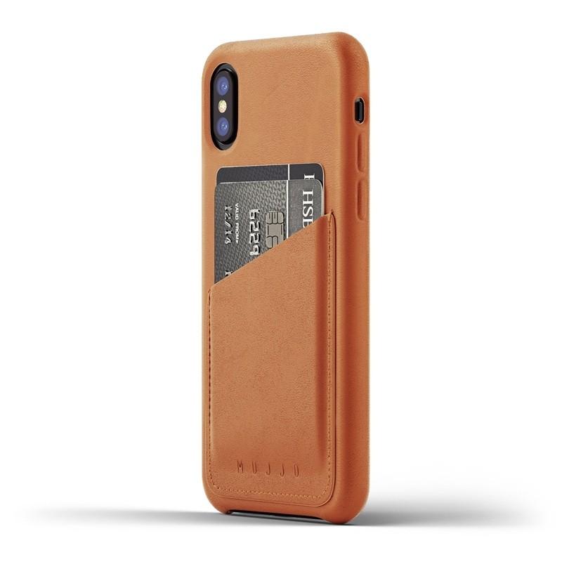 Mujjo - Full Leather Wallet Case iPhone X/Xs Tan 01