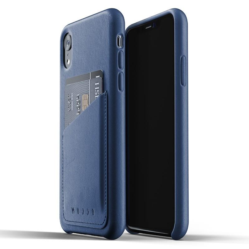Mujjo Full Leather Wallet Case iPhone XR Case Blauw 01