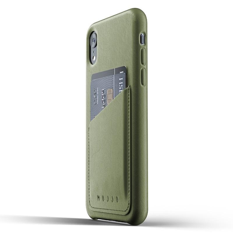 Mujjo Lederen iPhone XR Wallet Case Olijf 03