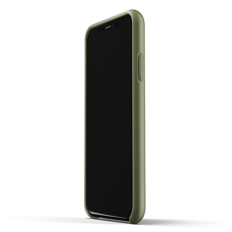 Mujjo Lederen iPhone XR Wallet Case Olijf 02
