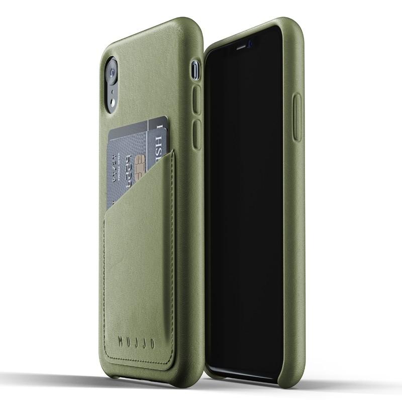 Mujjo Lederen iPhone XR Wallet Case Olijf 01