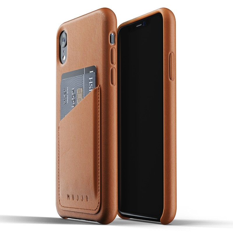 Mujjo Lederen iPhone XR Wallet Case Tan Bruin 01
