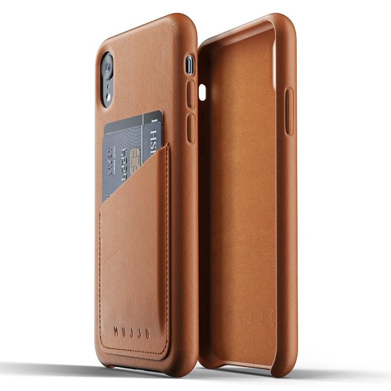 Mujjo Lederen iPhone XR Wallet Case Tan Bruin 05