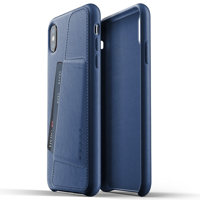 Mujjo Full Leather Wallet Case iPhone XS Max blauw 04