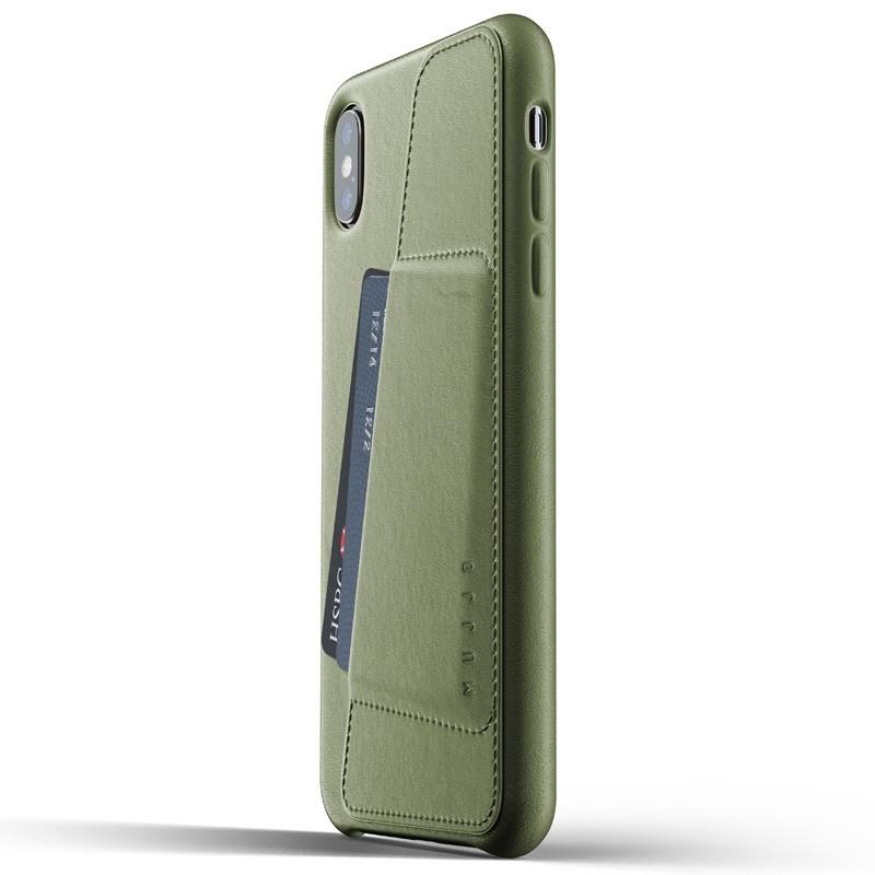 Mujjo Full Leather Wallet Case iPhone XS Max Olijfgroen 01