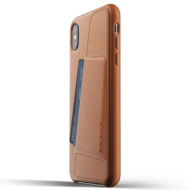 Mujjo Full Leather Wallet Case iPhone XS Max Tan bruin 01