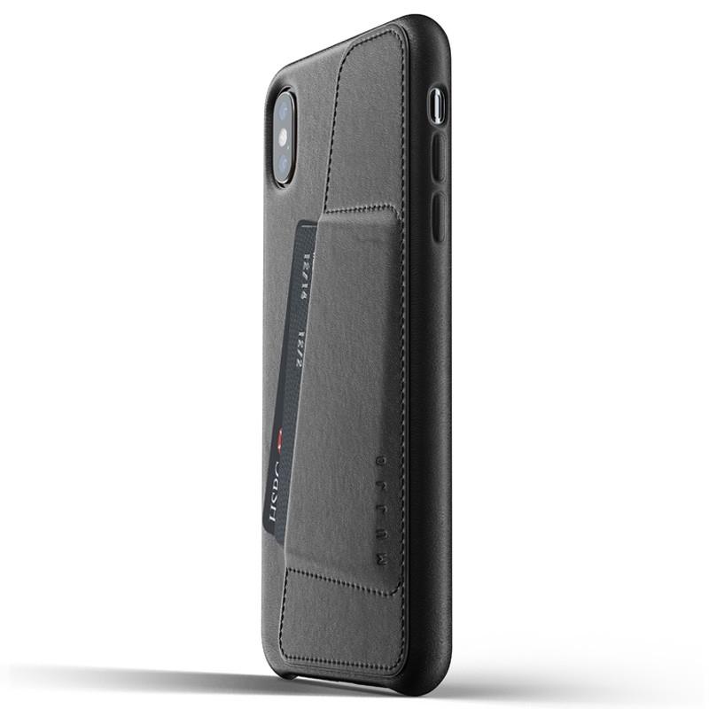 Mujjo Full Leather Wallet Case iPhone XS Max zwart 01