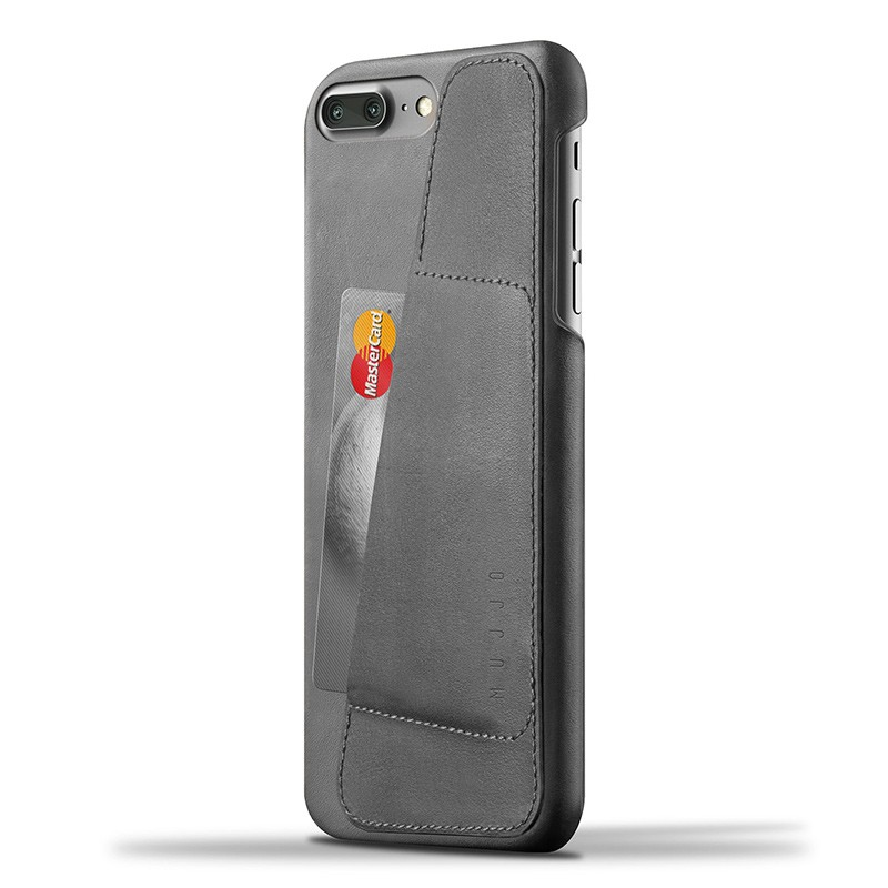 Mujjo Leather Wallet Case iPhone 7 Plus Grey 01