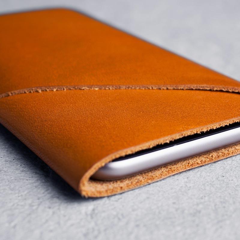Mujjo Leather Wallet Sleeve iPhone 6 Tan Brown - 5