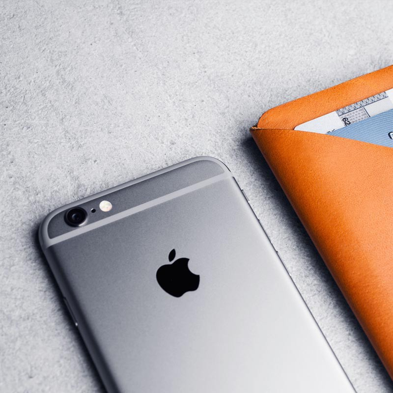 Mujjo Leather Wallet Sleeve iPhone 6 Tan Brown - 6