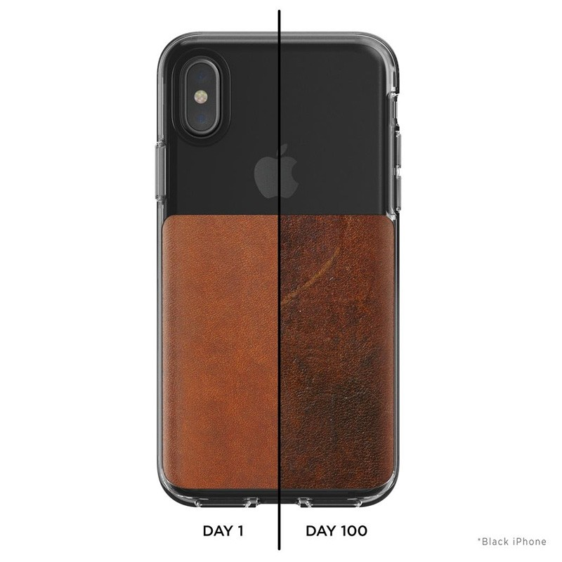 Nomad Clear Leather Case iPhone X Bruin - 7